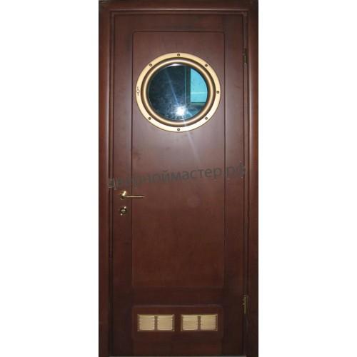 Дверь с иллюминатором с отделкой МДФ