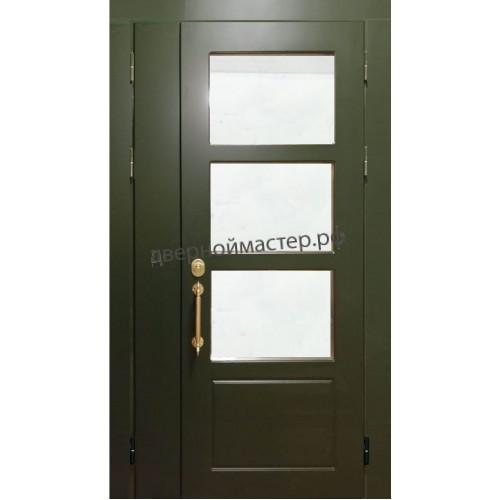 Уличная дверь со стеклом и отделкой МДФ