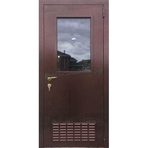 Металлическая дверь в бойлерную со стеклом