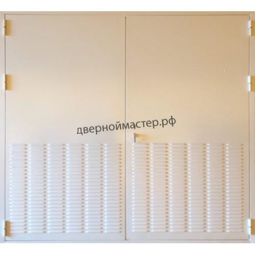 Ворота для трансформаторной подстанции с пробитыми в листе металла вентиляционными решетками/