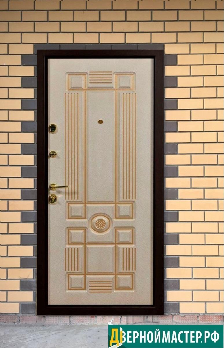 Металлическая дверь МДФ покрытой покрыта белой эмалью и патиной
