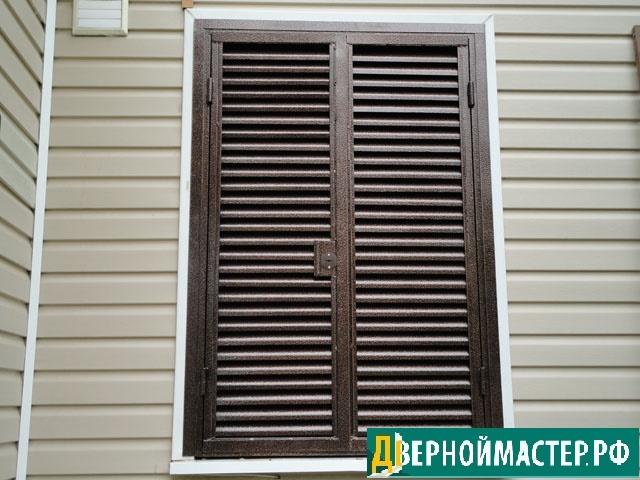 Открытые ставни на окна металлические с напылением, с запорами вверх и вниз