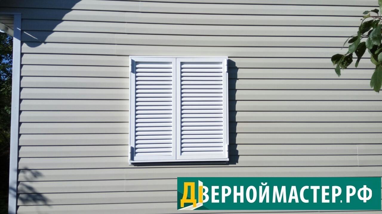 Ставни на окна металлические для дачного дома белого цвета