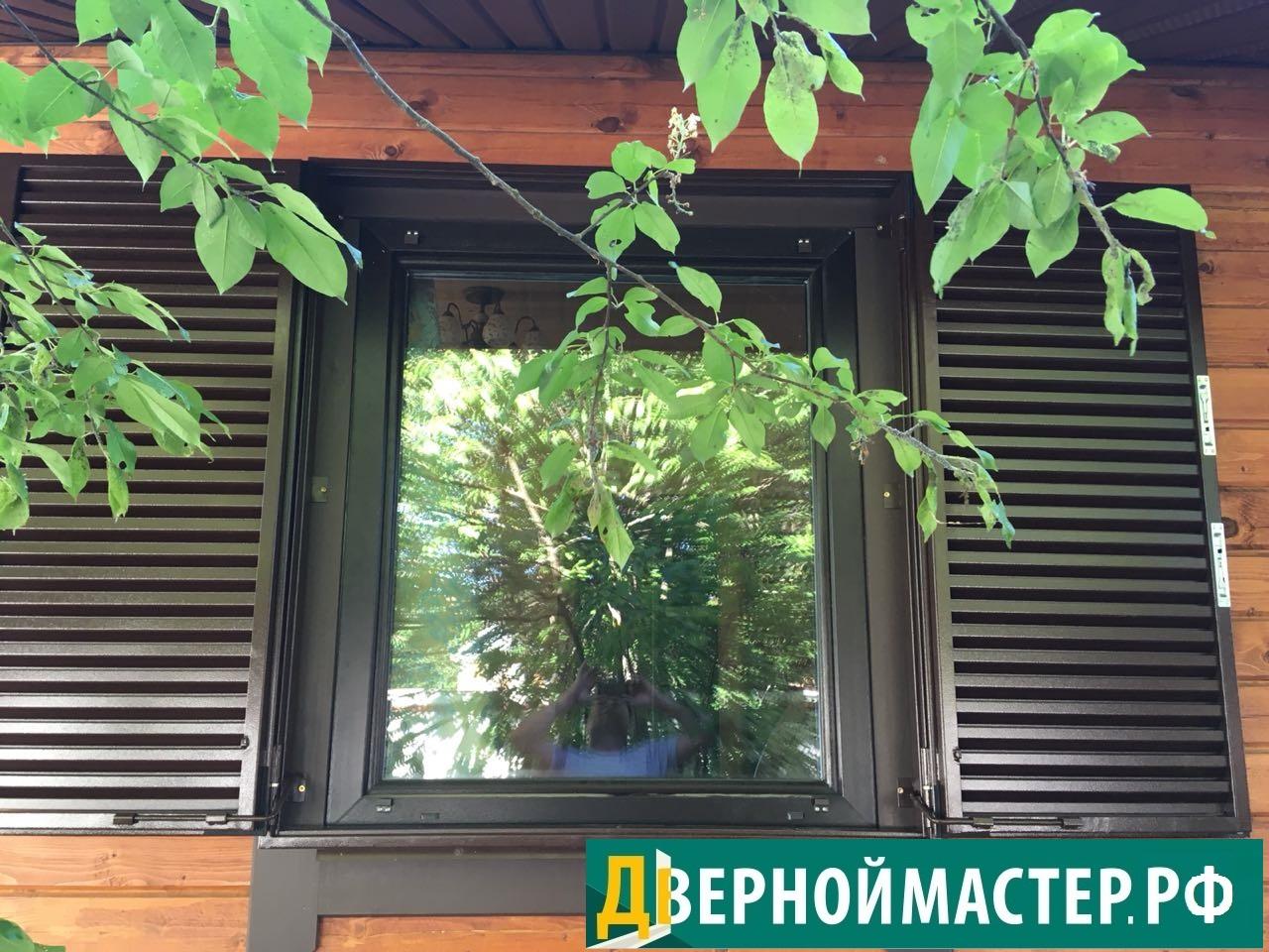 Распашные металлические ставни на окна купить для дачи из бруса