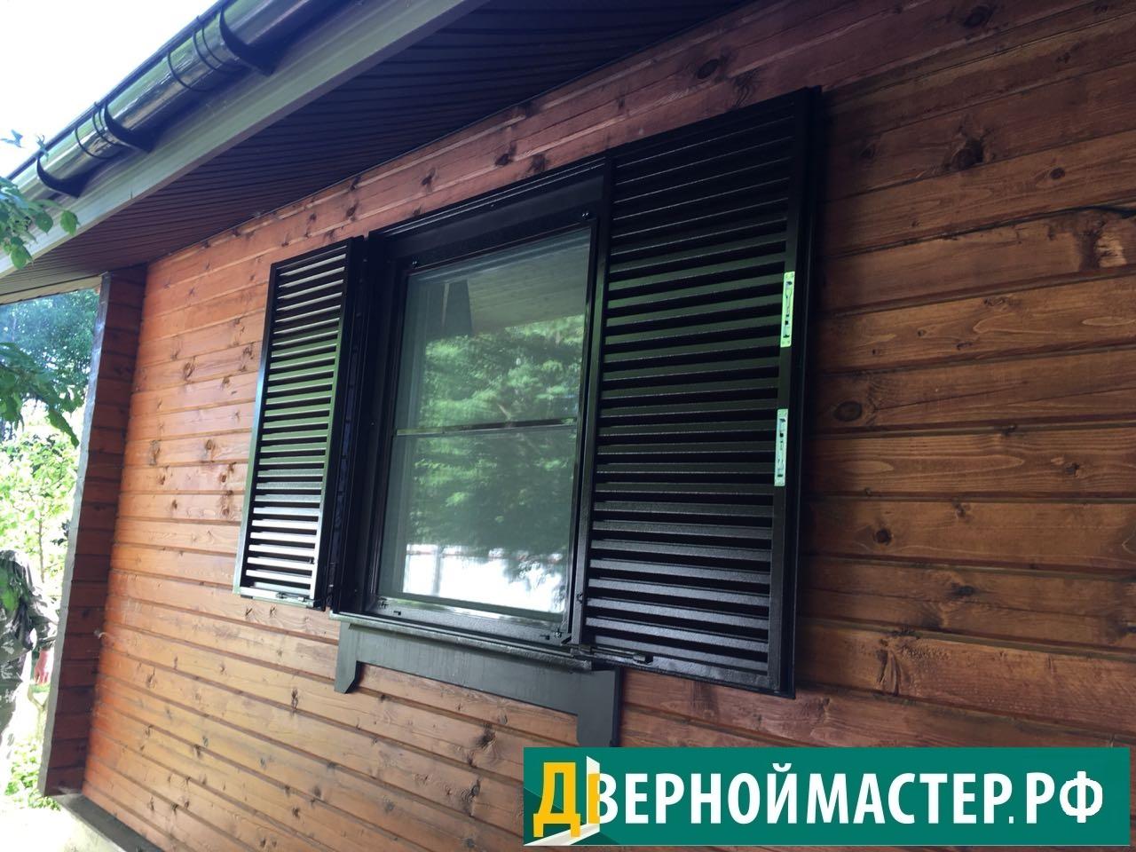 Открытые ставни для дачи на окна, с запорами вверх и вниз