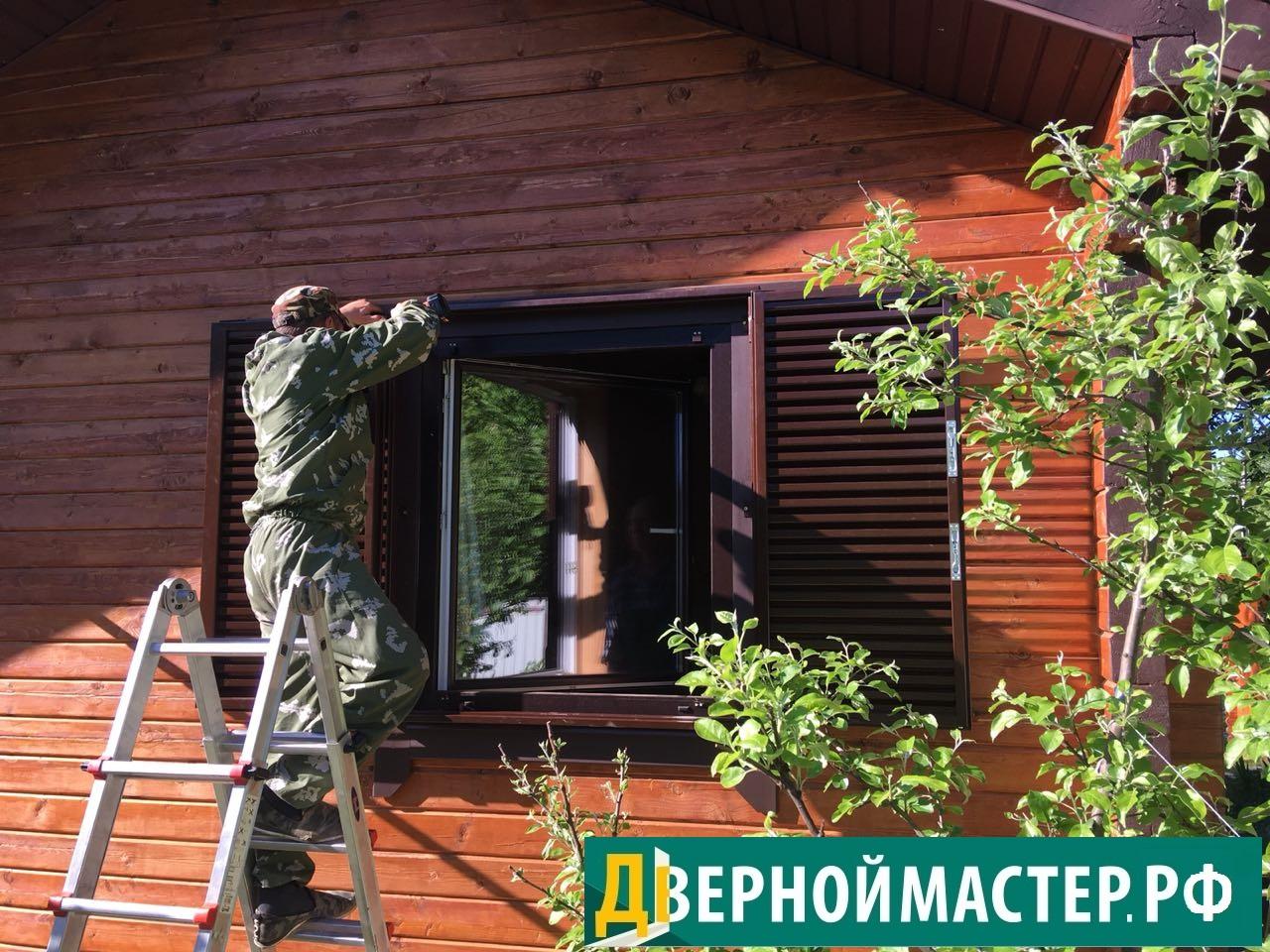 Установка ставни на окна купить в деревянный дом. Работа монтажника
