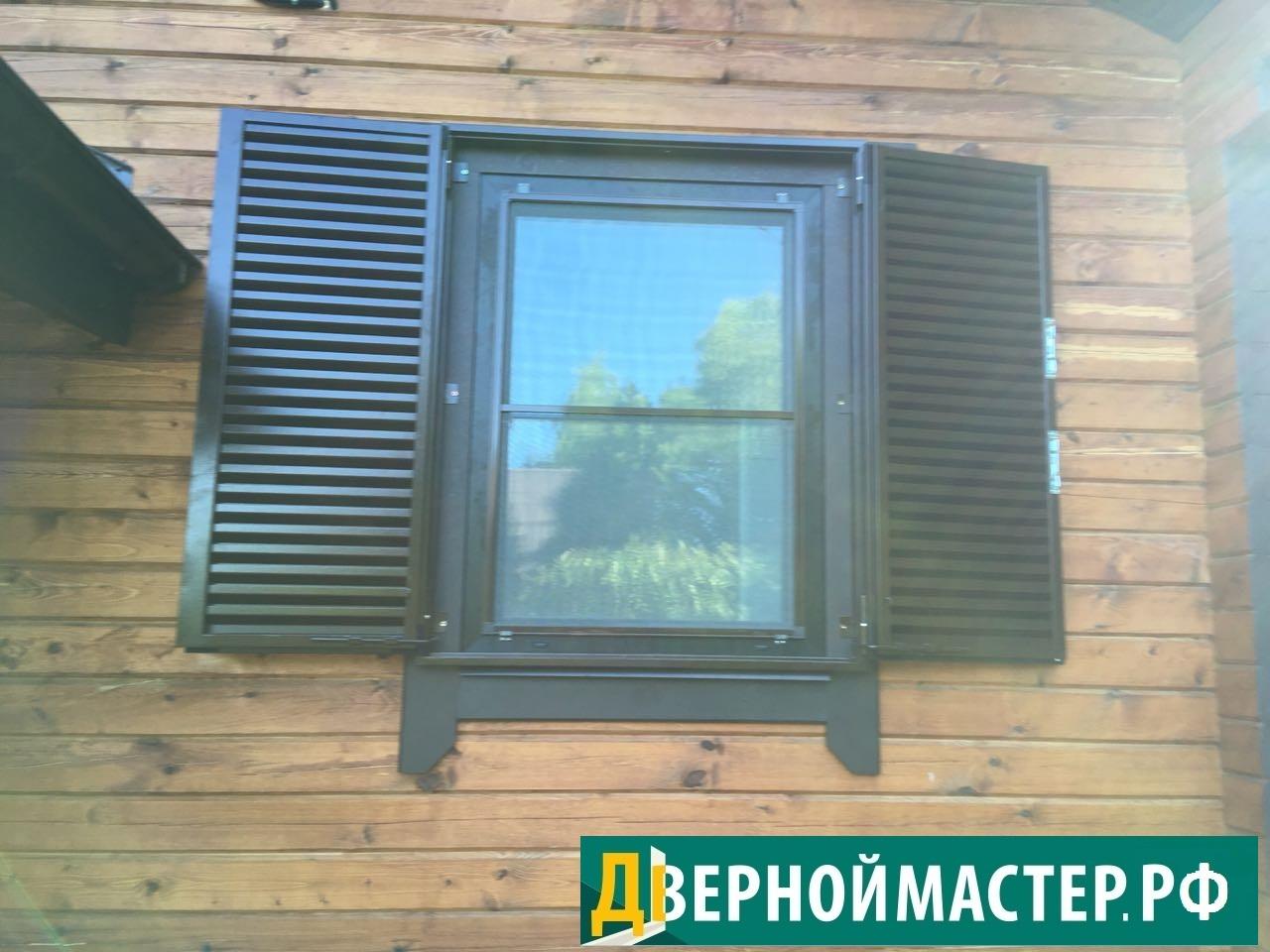 Ставни окна купить для дачи металлические двустворчатые на неширокий проем