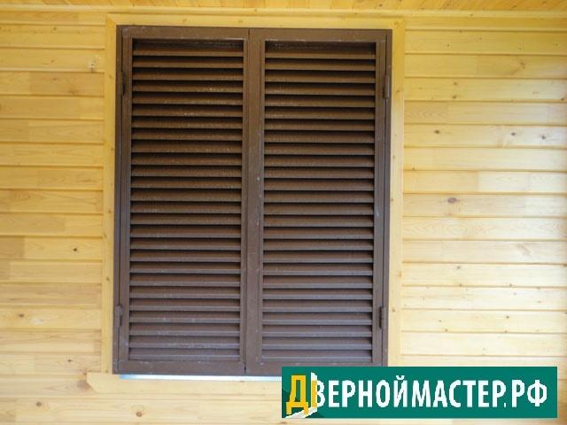 Ставни на окна металлические эконом класса с окраской хв 3 в 1 на доме с отделкой имитацией бруса..